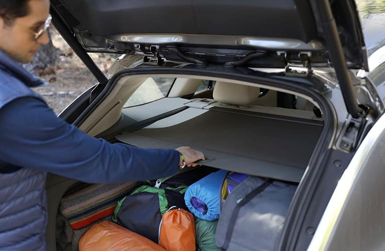 Man filling 2019 Buick Regal TourX trunk