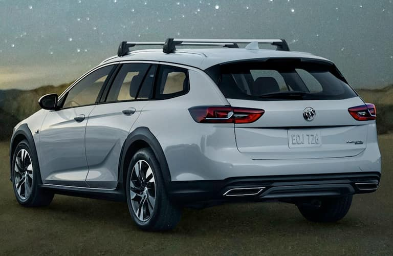 Rear view of white 2019 Buick Regal TourX