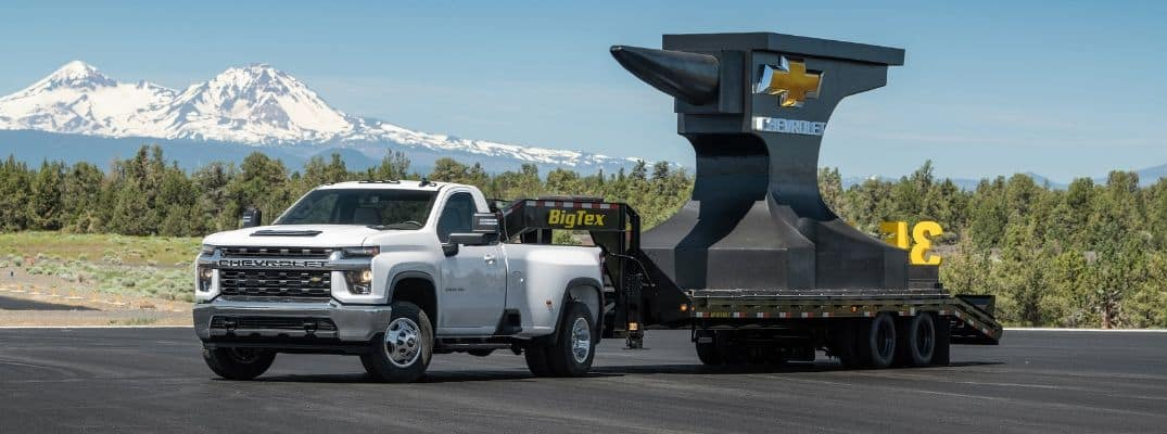 White 2020 Chevrolet Silverado 3500HD towing large weight