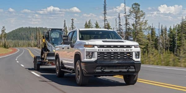 White 2020 Chevrolet Silverado 2500HD towing