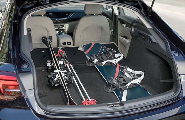 Ski gear in trunk of 2019 Buick Regal Sportback