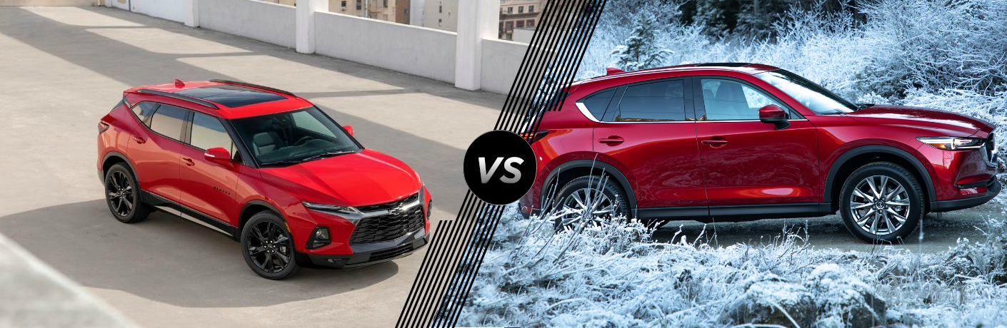 Red 2019 Chevrolet Blazer and red 2019 Mazda CX-5