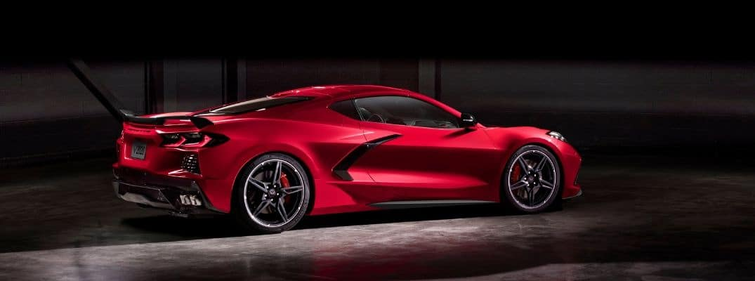 Side-view of red 2020 Chevrolet Corvette