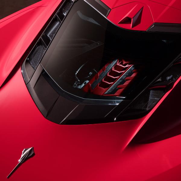 Closeup of engine in 2020 Chevrolet Corvette