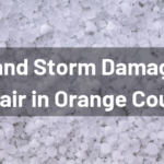 """Pile of hail with """"Weather and Storm Damage Vehicle Repair in Orange County"""" white text"""