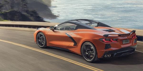 Orange 2020 Chevrolet Corvette Convertible driving