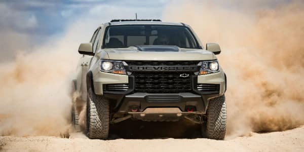 Front view of 2021 Chevrolet Colorado in dirt