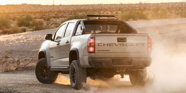 Rear view of silver 2021 Chevrolet Colorado
