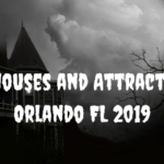 """Black and white image of house and tree with """"Haunted Houses and Attractions Near Orlando FL 2019"""" white text"""