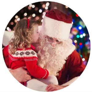 Young girl sitting in Santa's lap