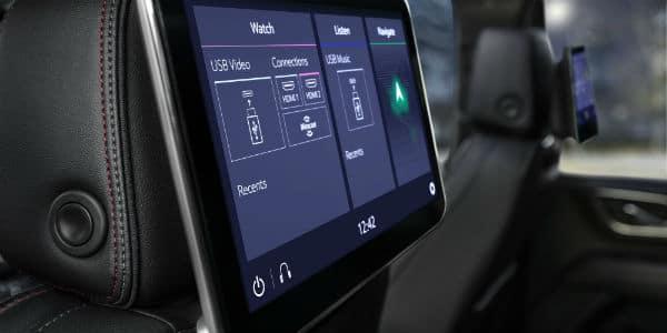 Closeup of media screen in 2021 Chevrolet Tahoe
