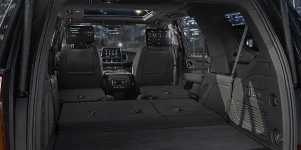 Interior view of 2021 Chevrolet Tahoe with rear seats down