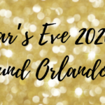 """Gold and glittery background with """"New Year's Eve 2020 Events Around Orlando FL"""" black overlay text"""