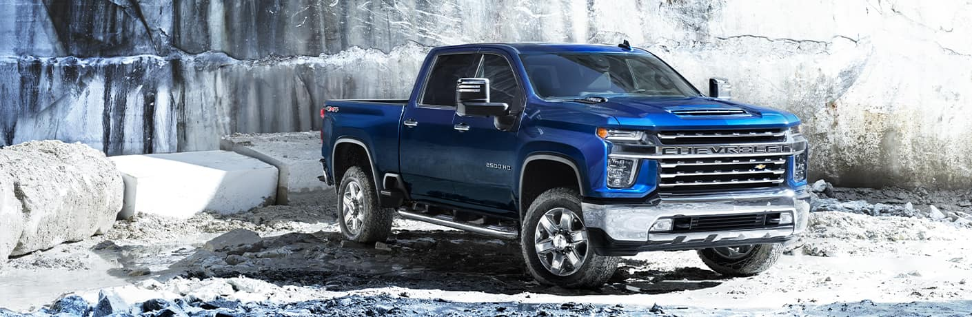 Blue 2020 Chevy Silverado 2500 HD in a frigid arctic environment.
