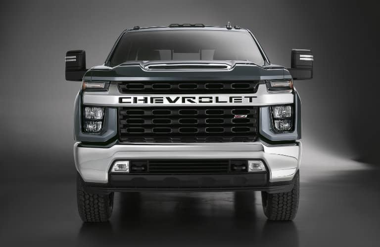 Head on view showcasing the unique front fascia of the 2020 Chevy Silverado 2500 HD.