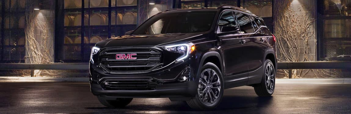 Black 2020 GMC Terrain exterior front/angled view.