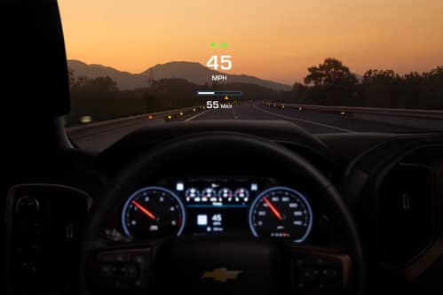 Head-up display projected onto the windshield inside a 2020 Chevy Silverado HD.