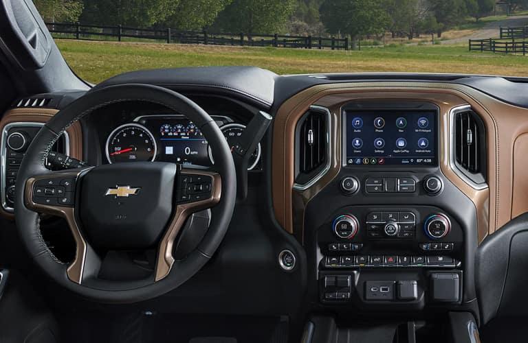 Interior cabin of a 2020 Chevy Silverado 1500.