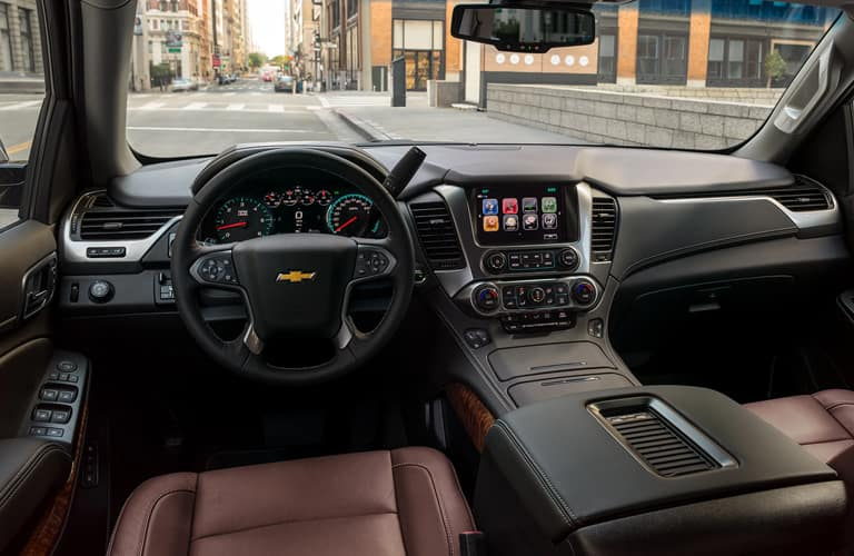 Interior front cabin of a 2020 Chevy Tahoe