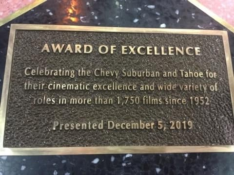 Award of Excellence plaque for the Chevy Suburban