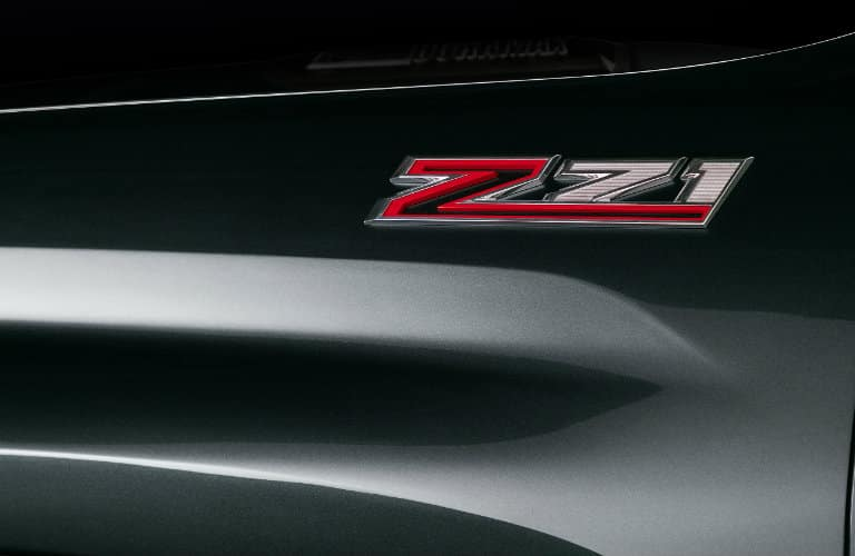 Close-up of the Z71 badge of a 2020 Chevy Silverado