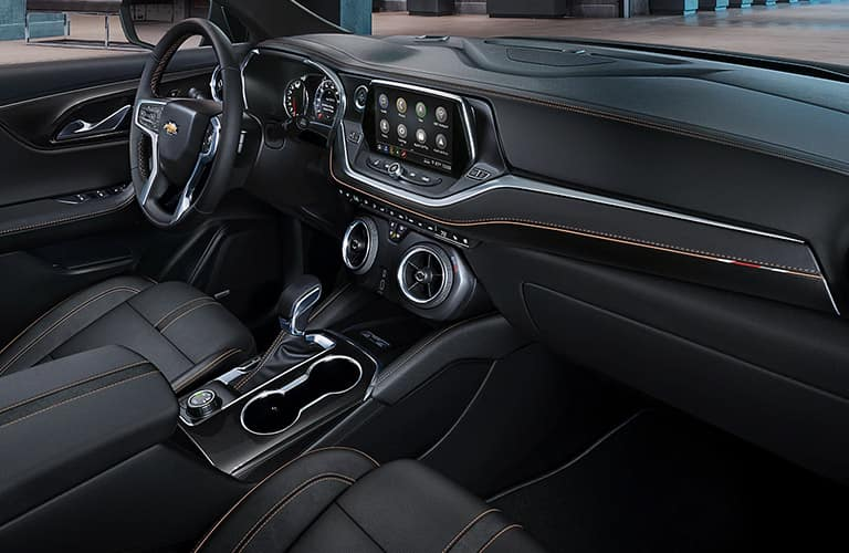Interior front cabin inside a 2020 Chevy Blazer