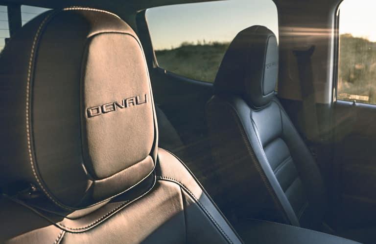 """Headrest inside a 2020 GMC Canyon reads, """"Denali"""""""