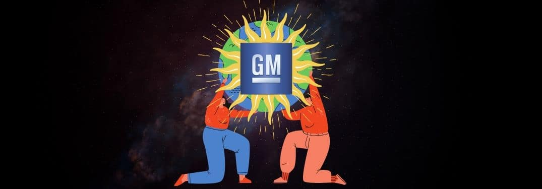 "Two figures hold up a globe embossed with a blazing ""GM"" logo"