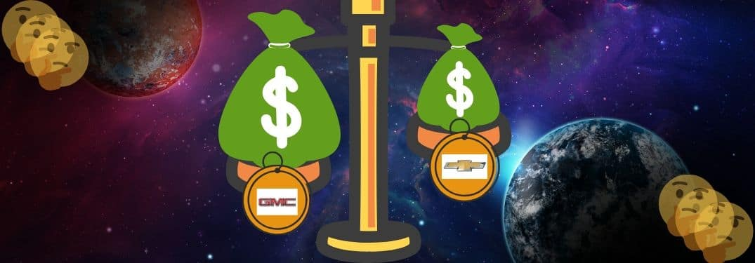 A cosmic scale weighs the costs of GMC and Chevy models against each other while faces ponder