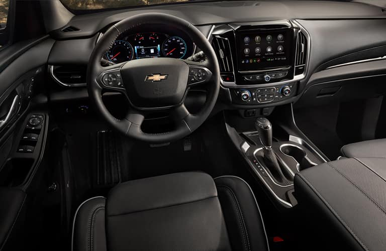 Interior front cabin of a 2020 Chevy Traverse