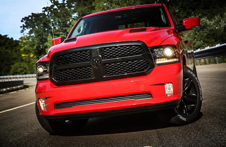 Front face of a red 2017 RAM 1500