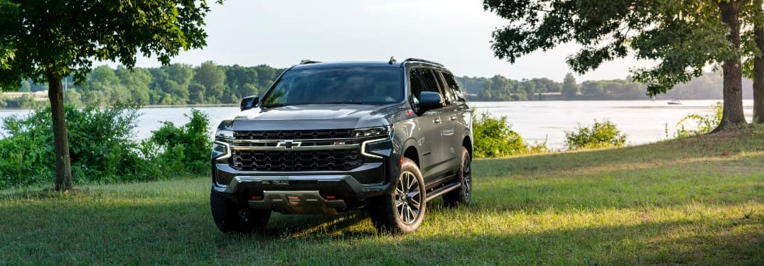 Head-on view of a 2021 Chevy Suburban in a grassy field