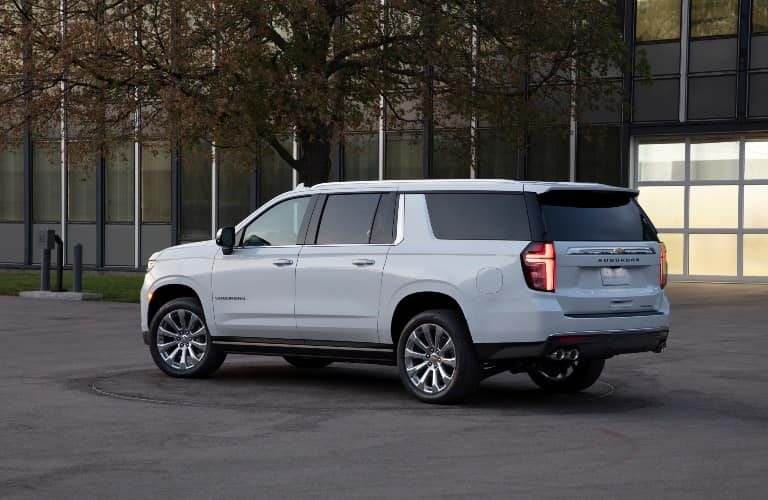 White 2021 Chevy Suburban rear/side angled view