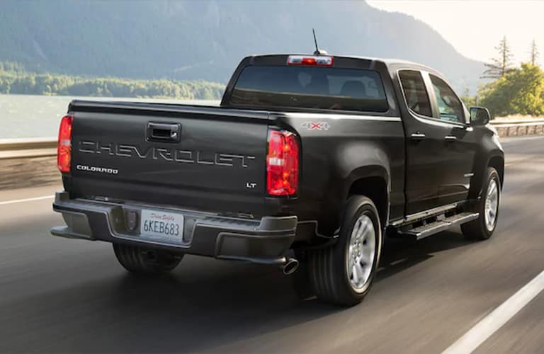 2021 Chevy Colorado drives away down a highway