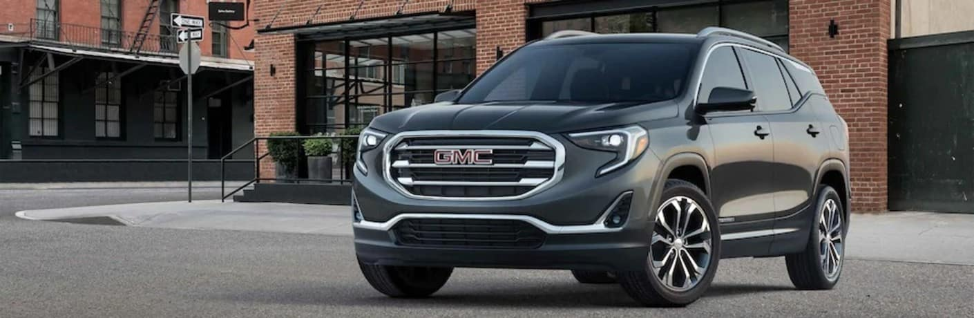 Exterior front/side view of a 2021 GMC Terrain