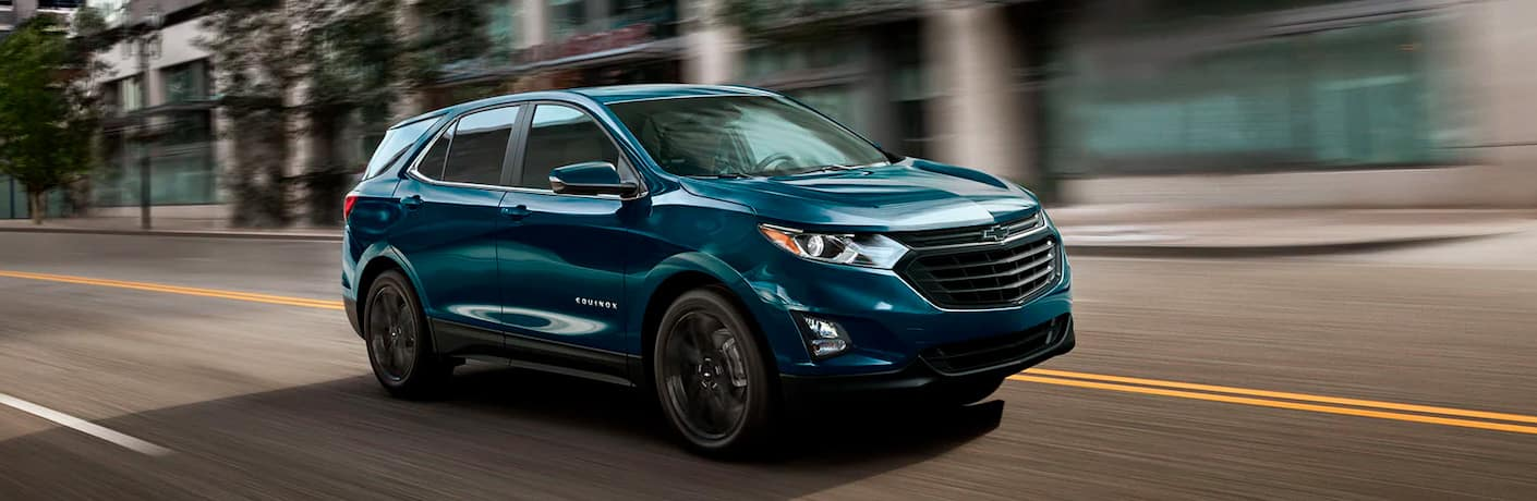 Blue 2021 Chevy Equinox in action