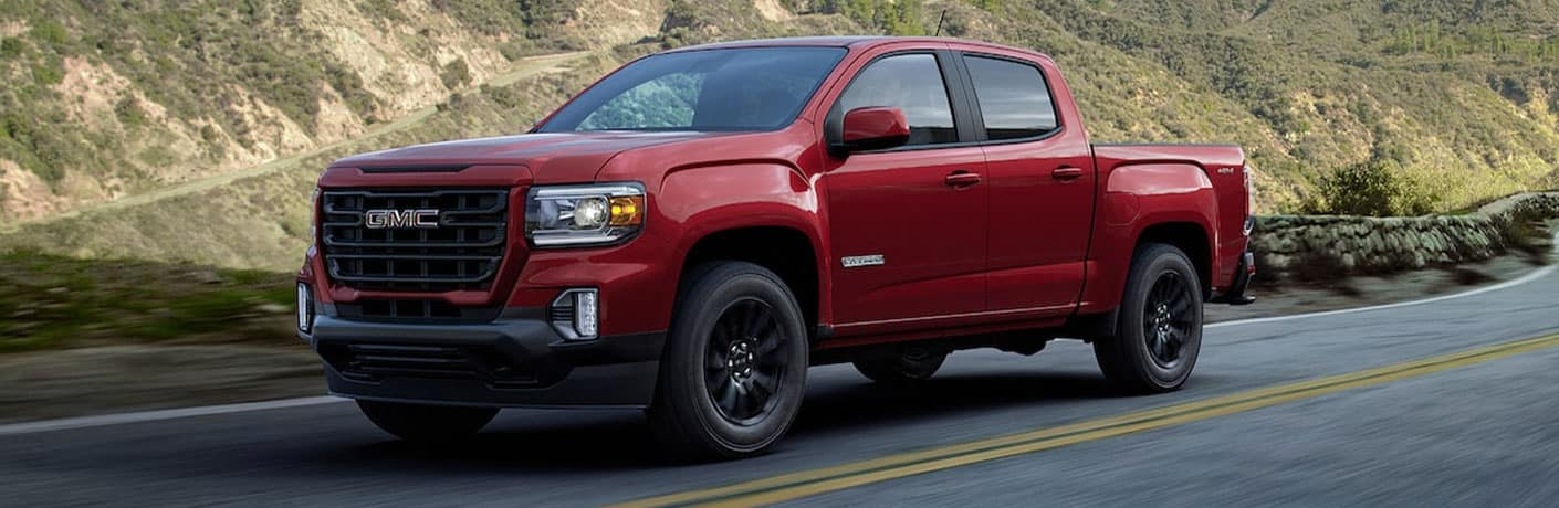 2021 GMC Canyon in red side view