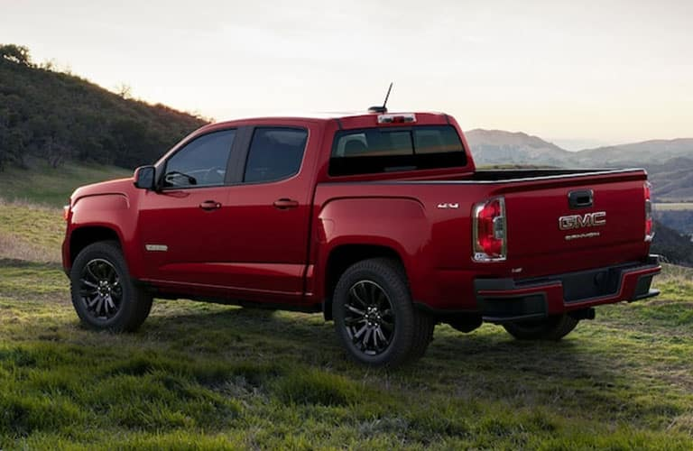 red 2021 GMC Canyon side and rear view