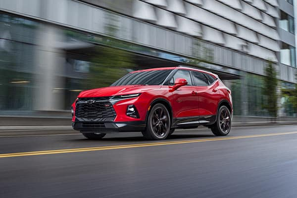 2019 Blazer Red Hot Driving Down Street