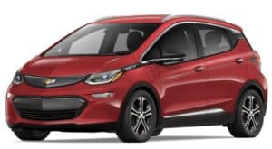 Red 2019 Chevy Bolt on white