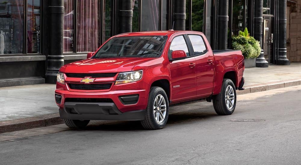 Red 2019 Chevy Colorado parked on street