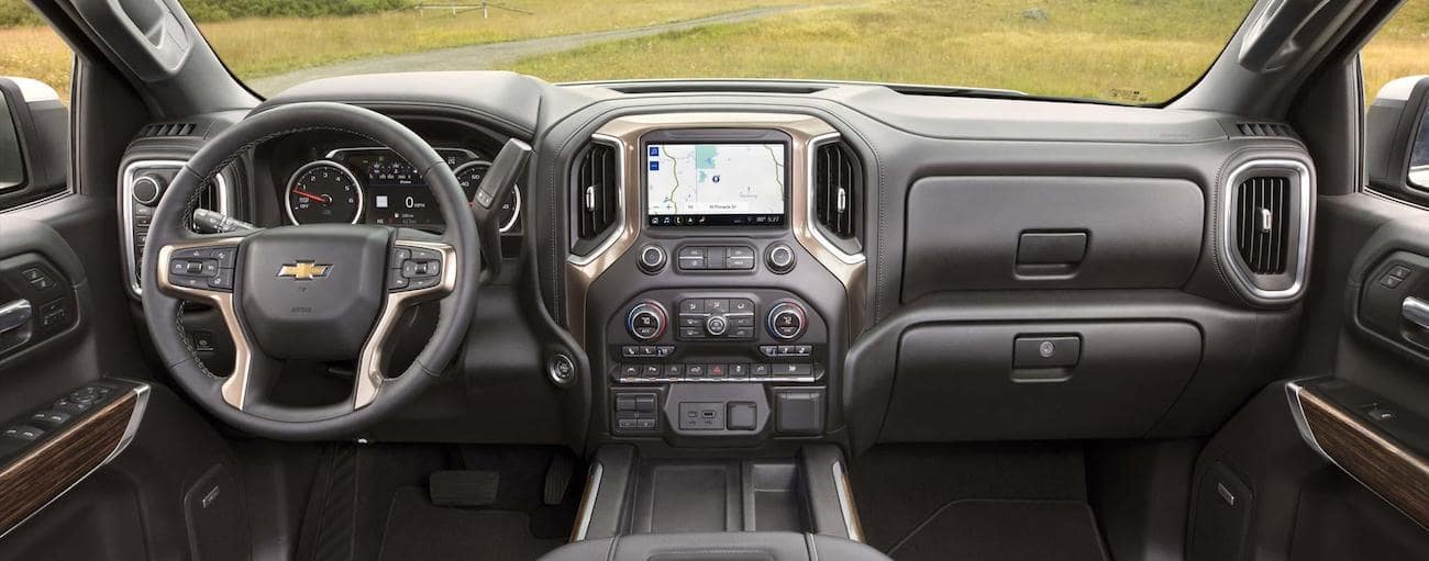 The spacious and hi tech interior of the 2019 Chevy Silverado