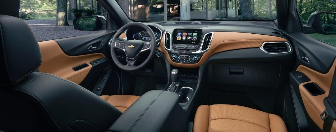 The black and tan interior of a 2019 Chevy Equinox