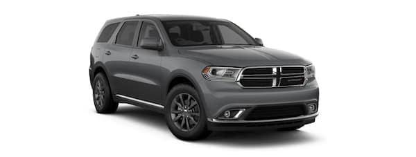 A gray 2019 Dodge Durango facing right on white