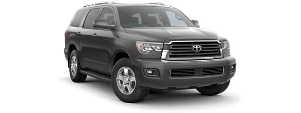 A black 2019 Toyota Sequoia facing right on white