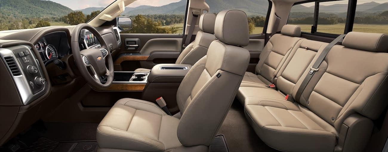 The tan leather hi tech interior of the 2019 Chevy Silverado