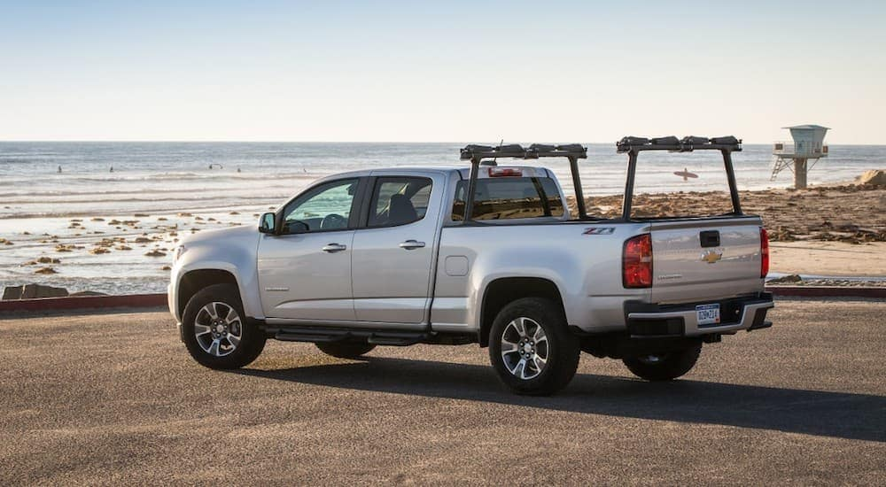 A silver 2019 Chevy Colorado Z71 at a beach