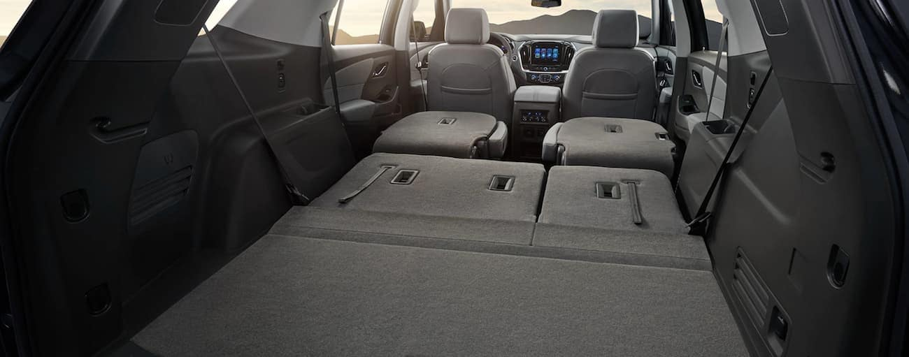 All seats folded down in a Traverse to carry away a win for 2019 Chevy Traverse vs 2019 Dodge Durango