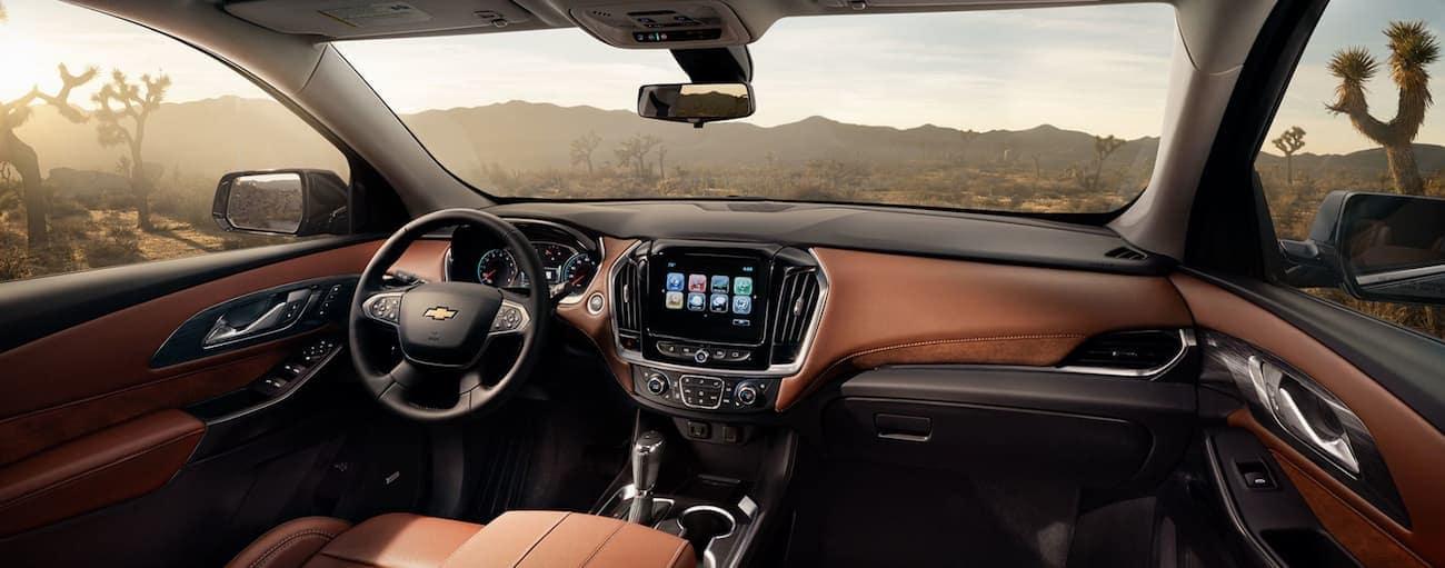 The two-tone interior of a Traverse having won 2019 Chevy Traverse vs 2019 Dodge Durango