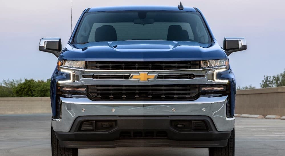 The front view of a blue 2019 Chevy Silverado is shown. Check one out at any of the Tennessee Chevy dealers.